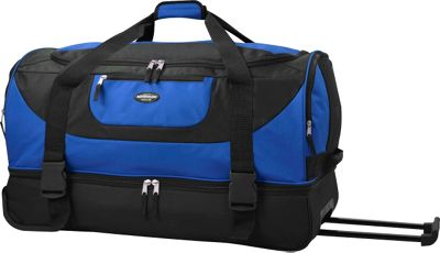 Travelers Club Luggage 30 inch Adventure EXTRA Spacious 2-Section Double Compartment Rolling Duffel Blue - Travelers Club Luggage Travel Duffels