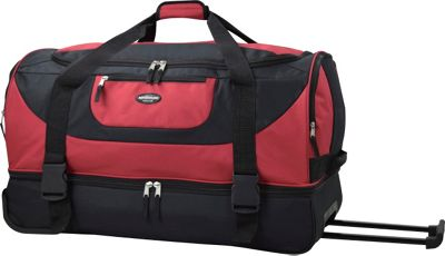 Travelers Club Luggage Adventure 30 inch 2-Section Drop-Bottom Rolling Duffel Red - Travelers Club Luggage Rolling Duffels