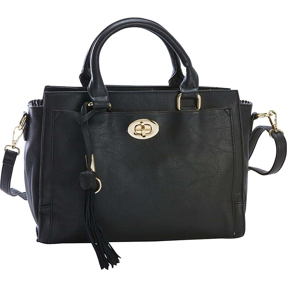Diophy Turn Lock Multi Compartment Satchel Black Diophy Manmade Handbags