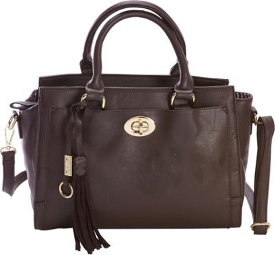 Diophy Turn-Lock Multi-Compartment Satchel Brown - Diophy Manmade Handbags