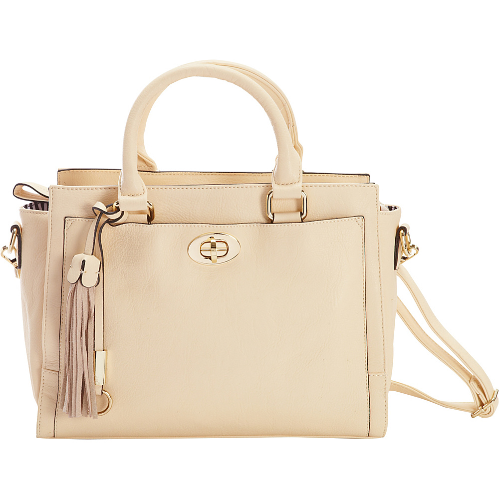 Diophy Turn-Lock Multi-Compartment Satchel Ivory - Diophy Manmade Handbags