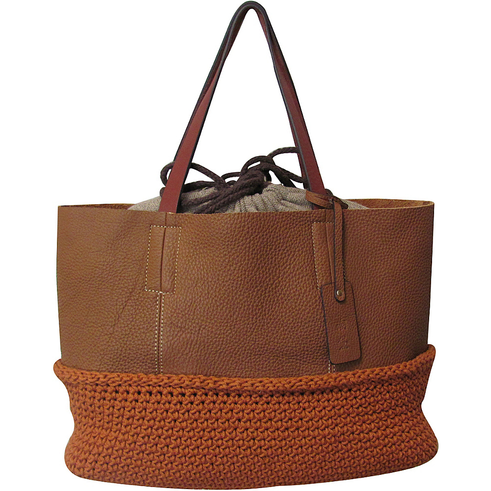 AmeriLeather Multi-Fabric Indra Tote Cognac/Orange - AmeriLeather Leather Handbags - Handbags, Leather Handbags