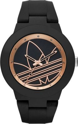 Image of adidas originals Watches Aberdeen Three Hand Silicone Watch Black with Black - adidas originals Watches Watches
