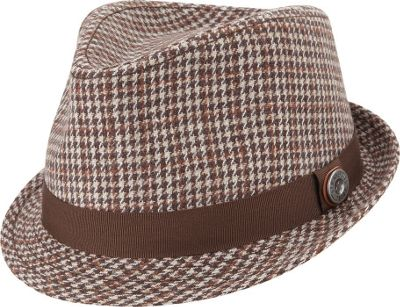 Ben Sherman Wool Houndstooth Trilby Hat Brown - Small/Medium - Ben Sherman Hats/Gloves/Scarves