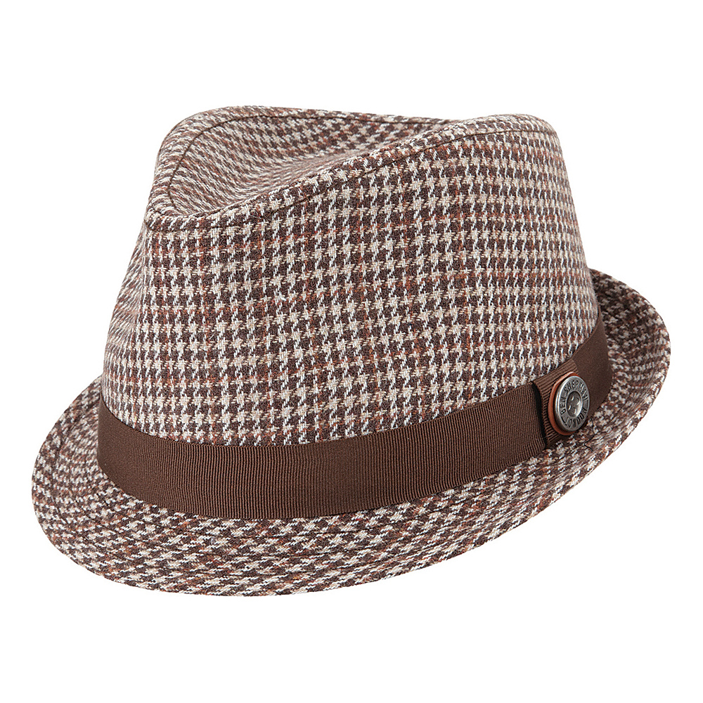 Ben Sherman Wool Houndstooth Trilby Hat Brown Small Medium Ben Sherman Hats Gloves Scarves