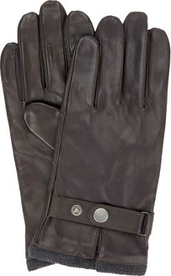Ben Sherman Leather Glove with Heathered Knit Lining M - Coffee - Ben Sherman Hats/Gloves/Scarves