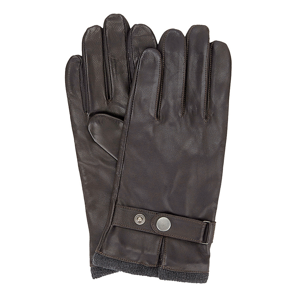 Ben Sherman Leather Glove with Heathered Knit Lining Coffee - Extra Large - Ben Sherman Hats/Gloves/Scarves