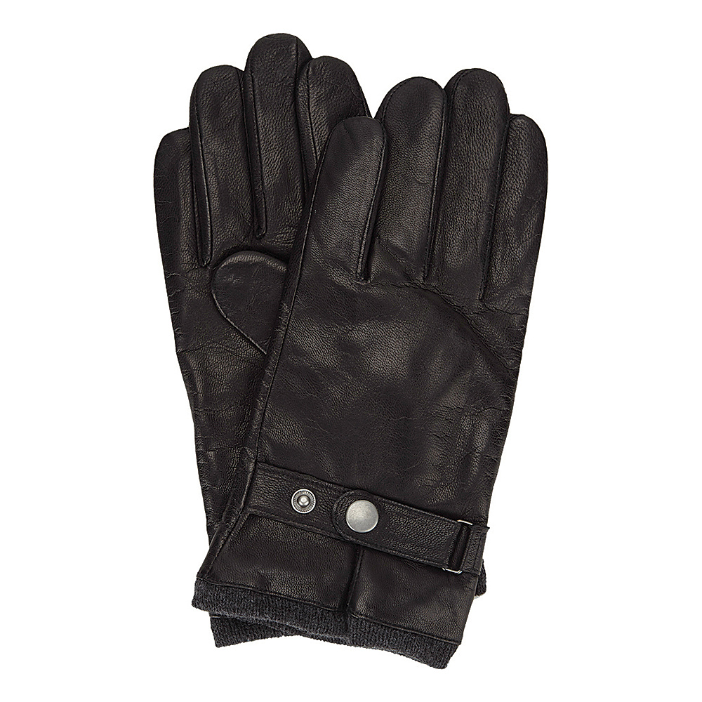 Ben Sherman Leather Glove with Heathered Knit Lining Jet Black Large Ben Sherman Hats Gloves Scarves