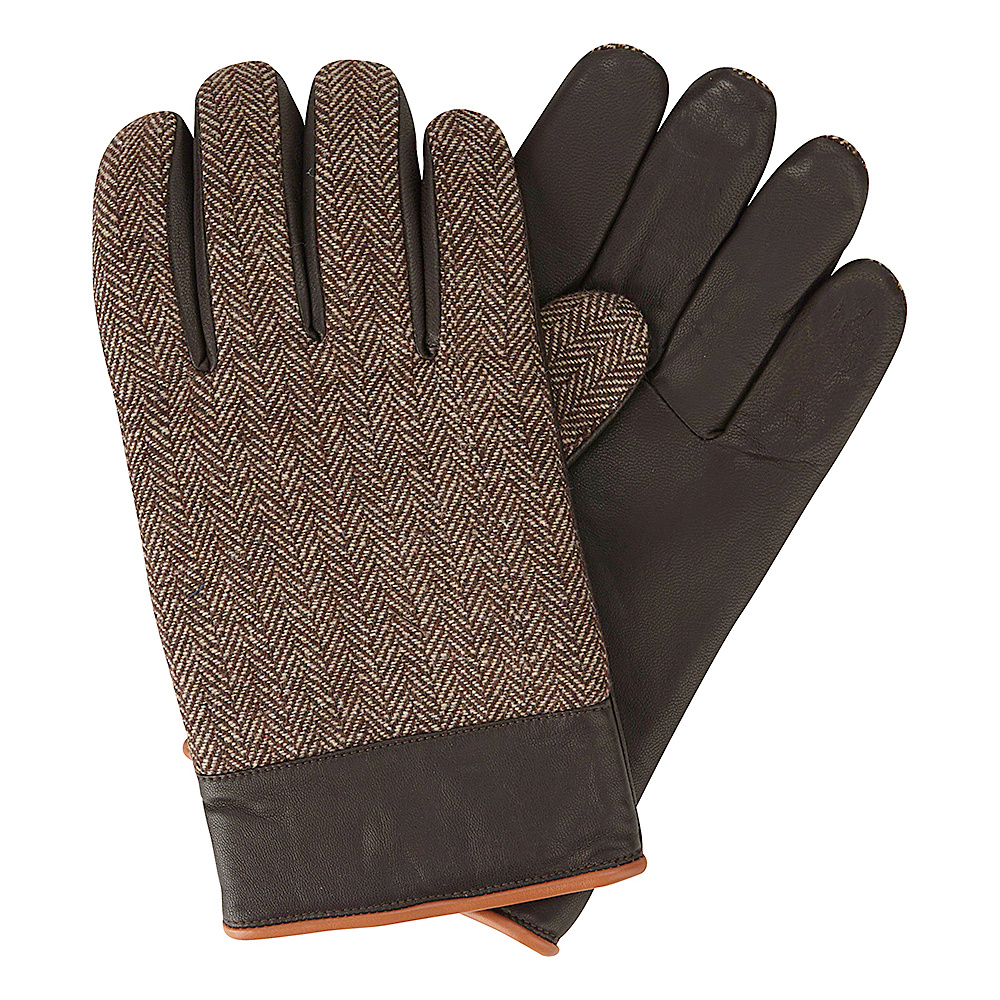 Original Penguin Woolen Herringbone Leather Gloves Brown Medium Original Penguin Hats Gloves Scarves