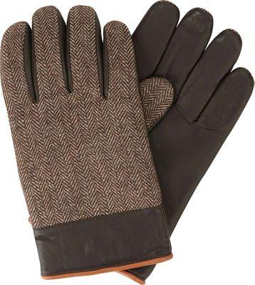 Original Penguin Woolen Herringbone/Leather Gloves XL - Brown - Original Penguin Hats/Gloves/Scarves