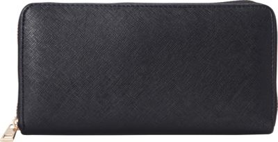 Rebecca & Rifka Faux Leather Zip Around Wallet Black - Rebecca & Rifka Women's Wallets