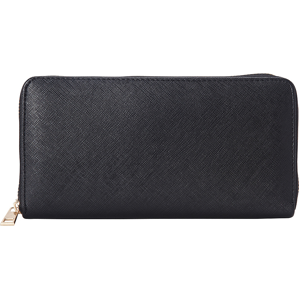 Upc 684230515871 Product Image For Rebecca Rifka Faux Leather Zip Around Wallet Black