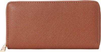 Rebecca & Rifka Faux Leather Zip Around Wallet Cognac - Rebecca & Rifka Women's Wallets