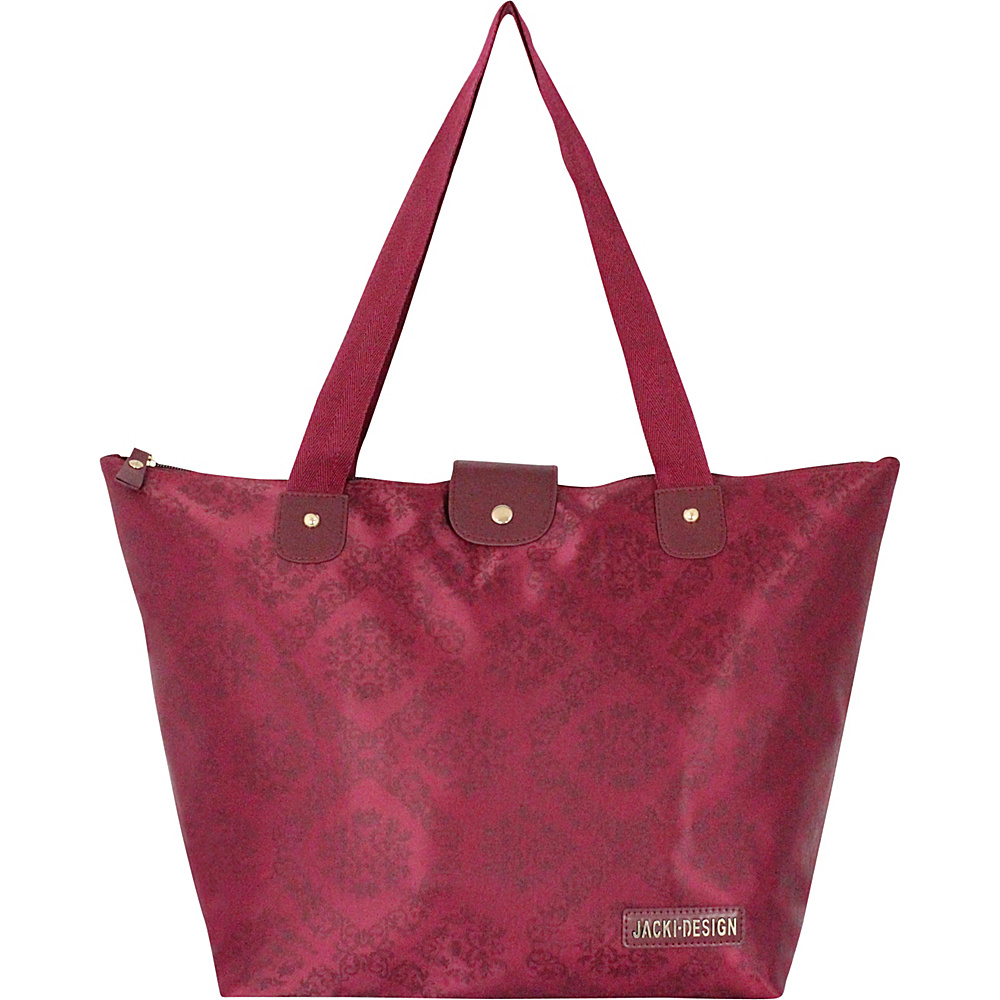 Jacki Design New Essential Foldable Tote Bag Large Burgundy Jacki Design Fabric Handbags