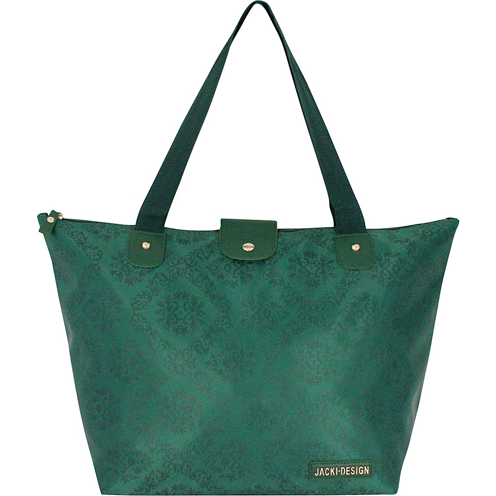 Jacki Design New Essential Foldable Tote Bag Large Emerald Jacki Design Fabric Handbags