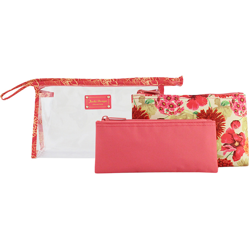Jacki Design Miss Cherie 3 Piece Cosmetic Bag Set Coral Jacki Design Women s SLG Other