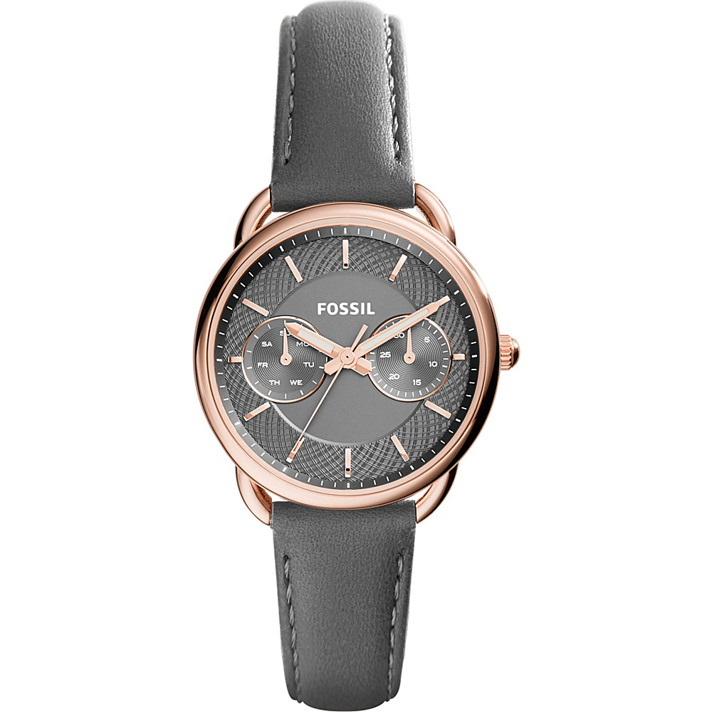 Fossil Tailor Multifunction Leather Watch Grey - Fossil Watches - Fashion Accessories, Watches