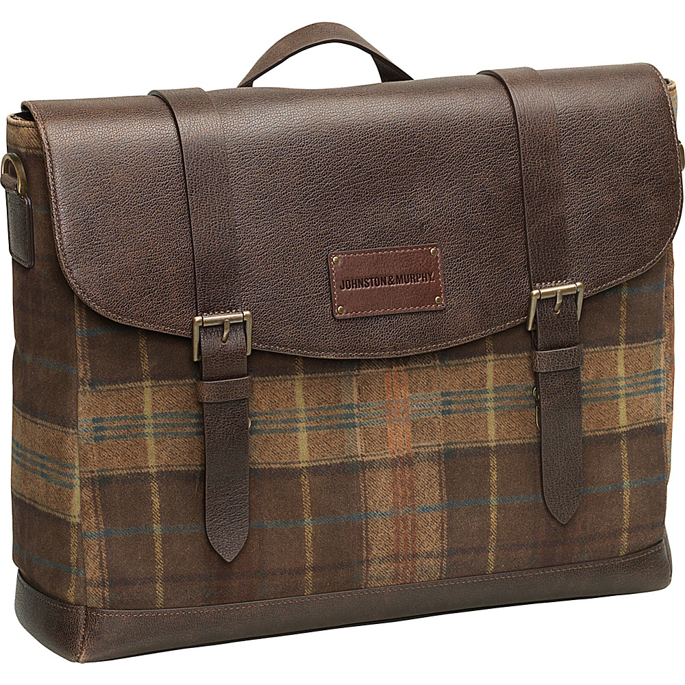 Johnston Murphy Flapover Briefcase Brown Johnston Murphy Non Wheeled Business Cases