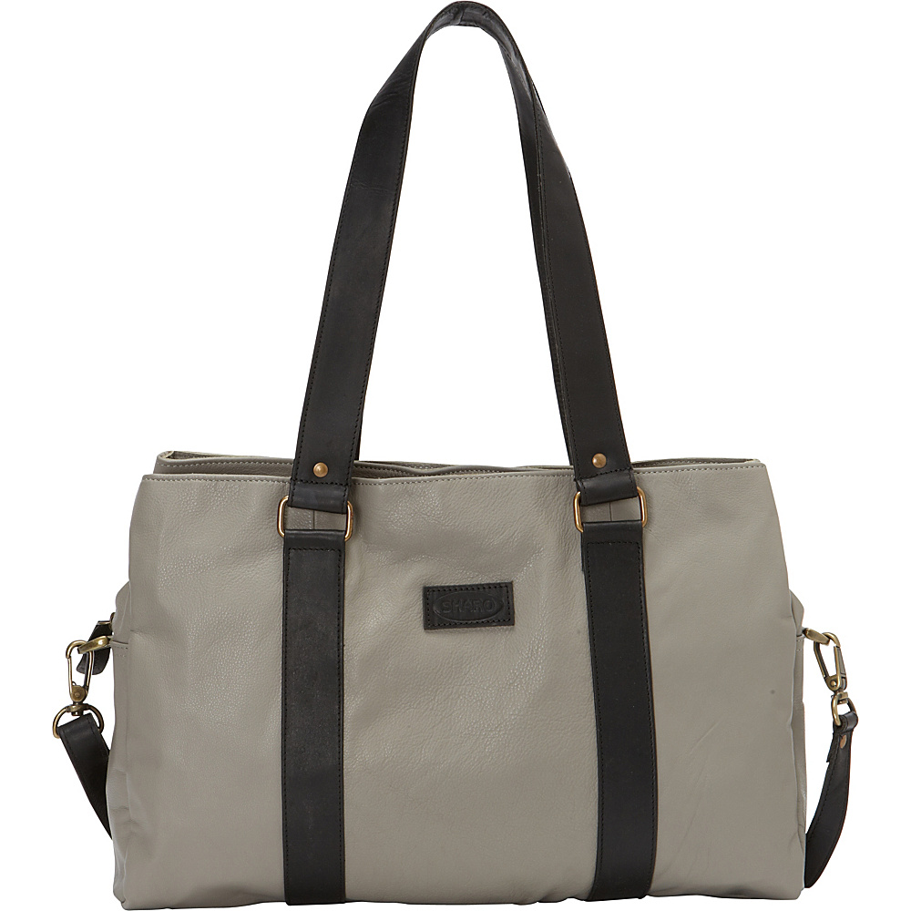 Sharo Leather Bags S-600 Soft Leather Laptop Computer Tote with Shoulder Strap Grey - Sharo Leather Bags Women's Business Bags