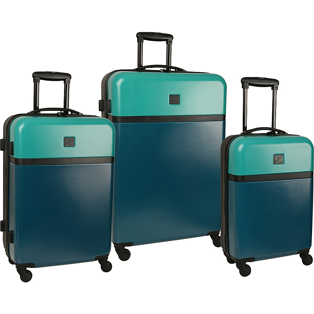 Diane Von Furstenberg Addison 3 Piece Hardside Set Lagoon/Teal/Black - Diane Von Furstenberg Luggage Sets