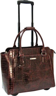 Cabrelli Cabrelli Empire Croco 15.6 inch Laptop Rollerbrief Brown - Cabrelli Wheeled Business Cases