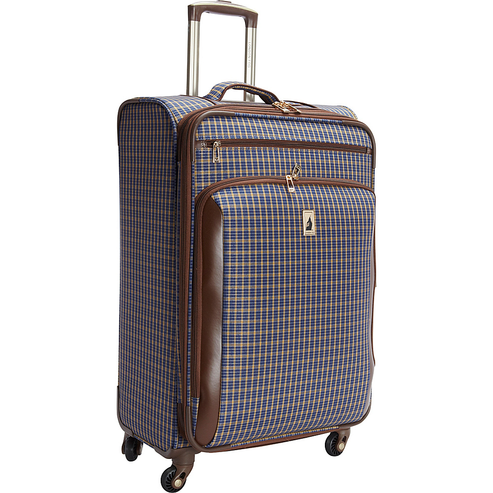 "London Fog Kensington 25"" Expandable Spinner Blue Tan Plaid - London Fog Softside Checked"