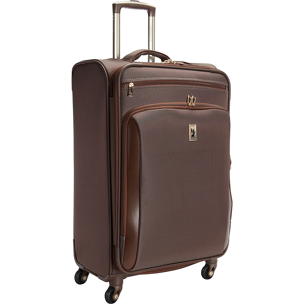 "London Fog Kensington 25"" Expandable Spinner Bronze - London Fog Softside Checked"
