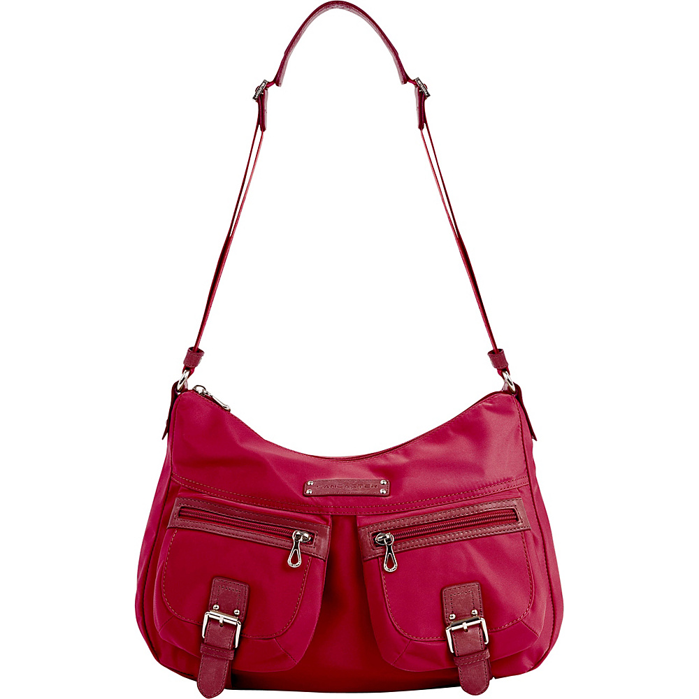 Lancaster Paris Nylon Leather Traveler Rasberry Lancaster Paris Fabric Handbags