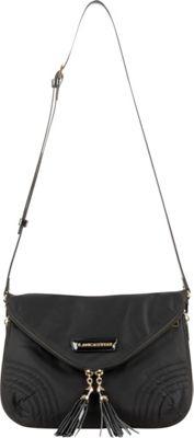 Lancaster Paris Nylon & Patent Flap Front Messenger Black - Lancaster Paris Fabric Handbags
