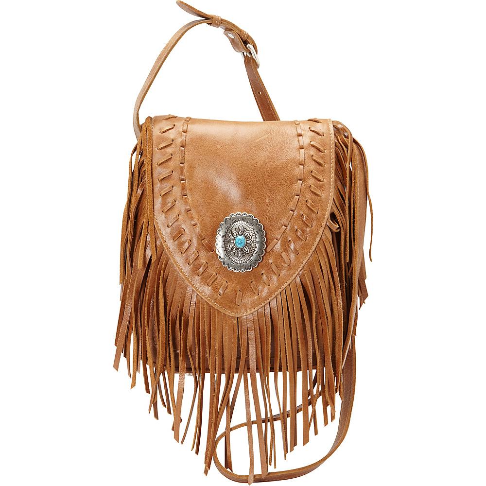 American West Pueblo Moon Fringe Flap Crossbody Tobacco American West Leather Handbags