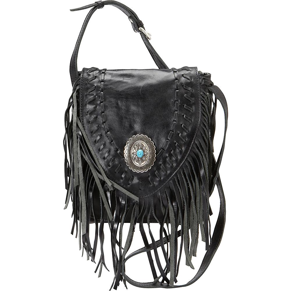 American West Pueblo Moon Fringe Flap Crossbody Charcoal American West Leather Handbags