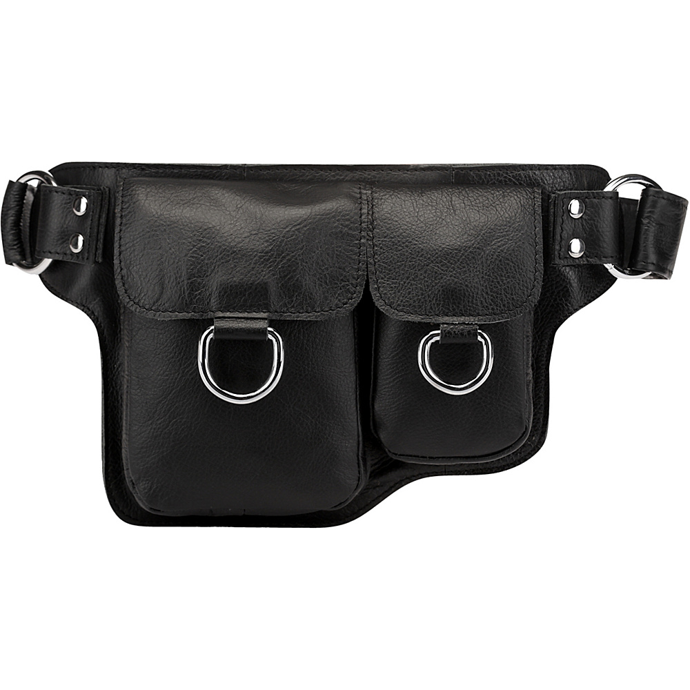 Vicenzo Leather Alvere Leather Waist Pack Black Vicenzo Leather Waist Packs