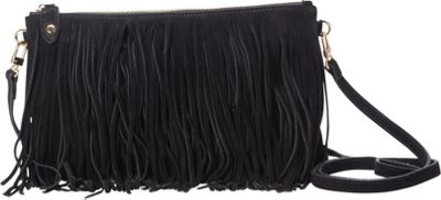 HButler The Mighty Purse Fringe Phone Charging Crossbody Bag Black - HButler Leather Handbags
