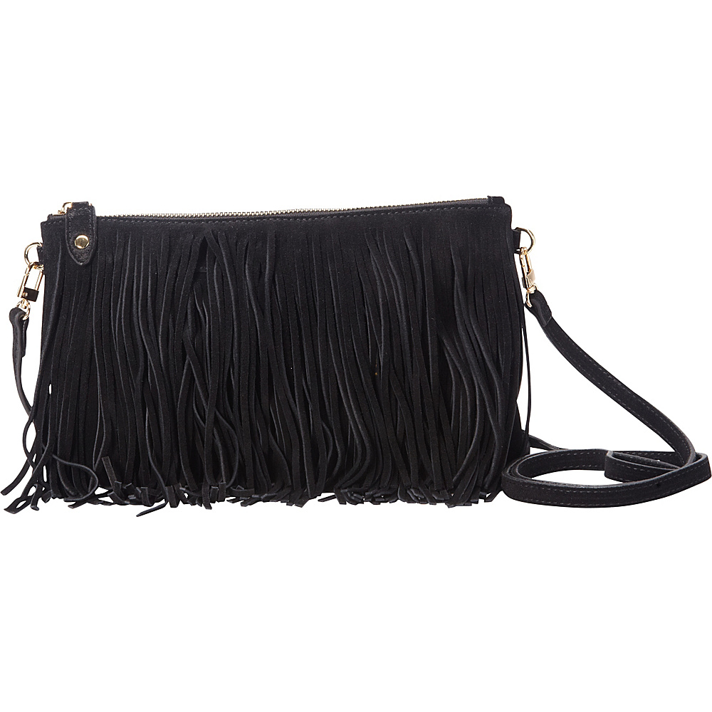 HButler The Mighty Purse Fringe Phone Charging Crossbody Bag Black HButler Leather Handbags