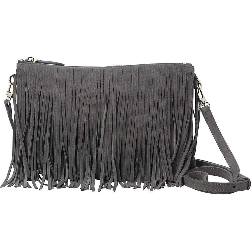 The Mighty Purse Fringe Crossbody Bag Grey - The Mighty Purse Leather Handbags