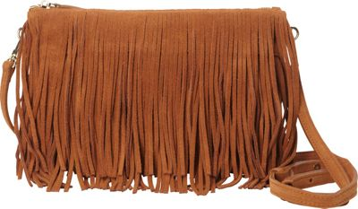 HButler The Mighty Purse Fringe Phone Charging Crossbody Bag Brown - HButler Leather Handbags