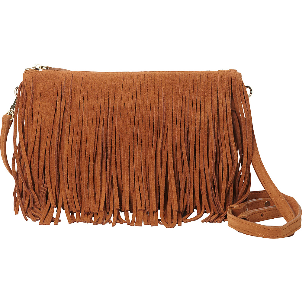 HButler The Mighty Purse Fringe Phone Charging Crossbody Bag Brown HButler Leather Handbags