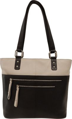 Great American Leatherworks Great American Leatherworks Zipper Tote Black/Chalk - Great American Leatherworks Leather Handbags