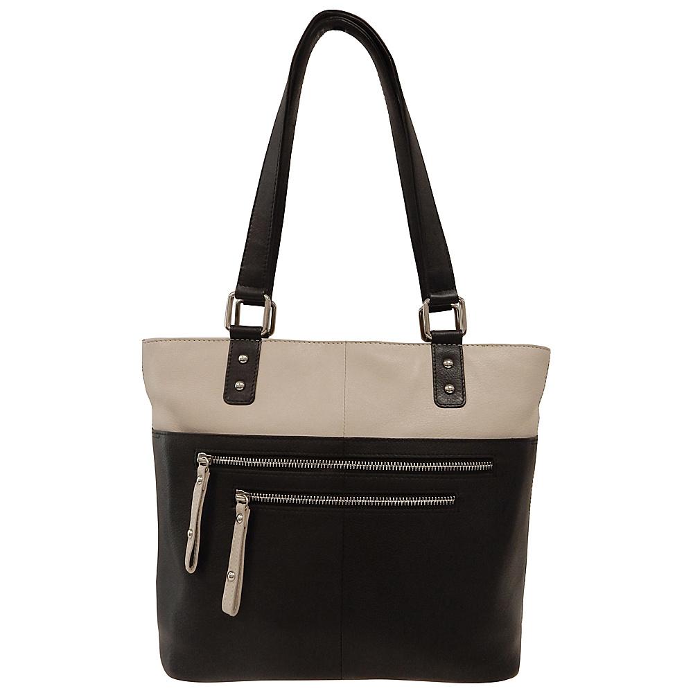 Great American Leatherworks Zipper Tote Black/Chalk - Great American Leatherworks Leather Handbags