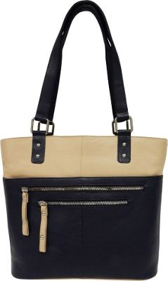 Great American Leatherworks Great American Leatherworks Zipper Tote Navy/Alabaster - Great American Leatherworks Leather Handbags