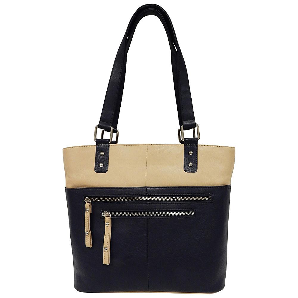 Great American Leatherworks Zipper Tote Navy/Alabaster - Great American Leatherworks Leather Handbags