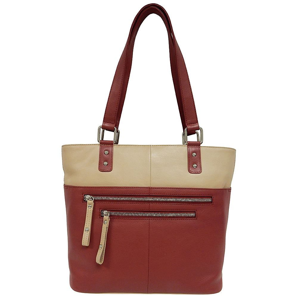 Great American Leatherworks Zipper Tote Red/Alabaster - Great American Leatherworks Leather Handbags