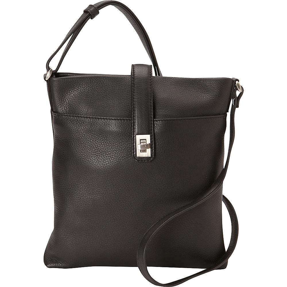 Derek Alexander Small North/South Top Zip Slim Shoulder Bag Black - Derek Alexander Leather Handbags - Handbags, Leather Handbags