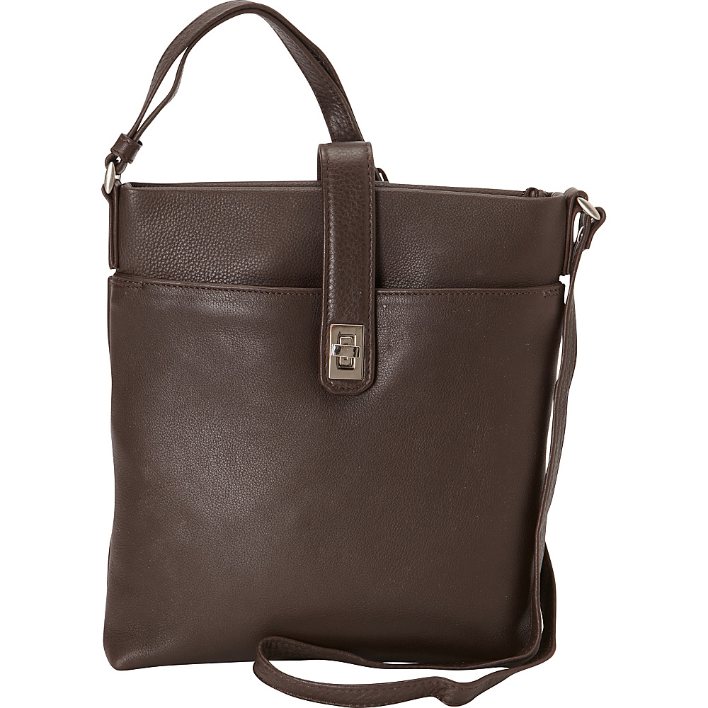 Derek Alexander Small North/South Top Zip Slim Shoulder Bag Brown - Derek Alexander Leather Handbags - Handbags, Leather Handbags