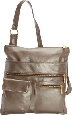 Victoria Leather Deb Crossbody Platinum - Victoria Leather Leather Handbags
