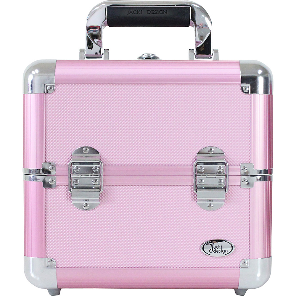 Jacki Design Carrying Makeup Salon Train Case with Expandable Trays - Medium Pink - Jacki Design Toiletry Kits