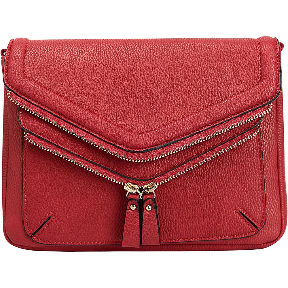 Melie Bianco Peyton Zipper Crossbody Red - Melie Bianco Manmade Handbags