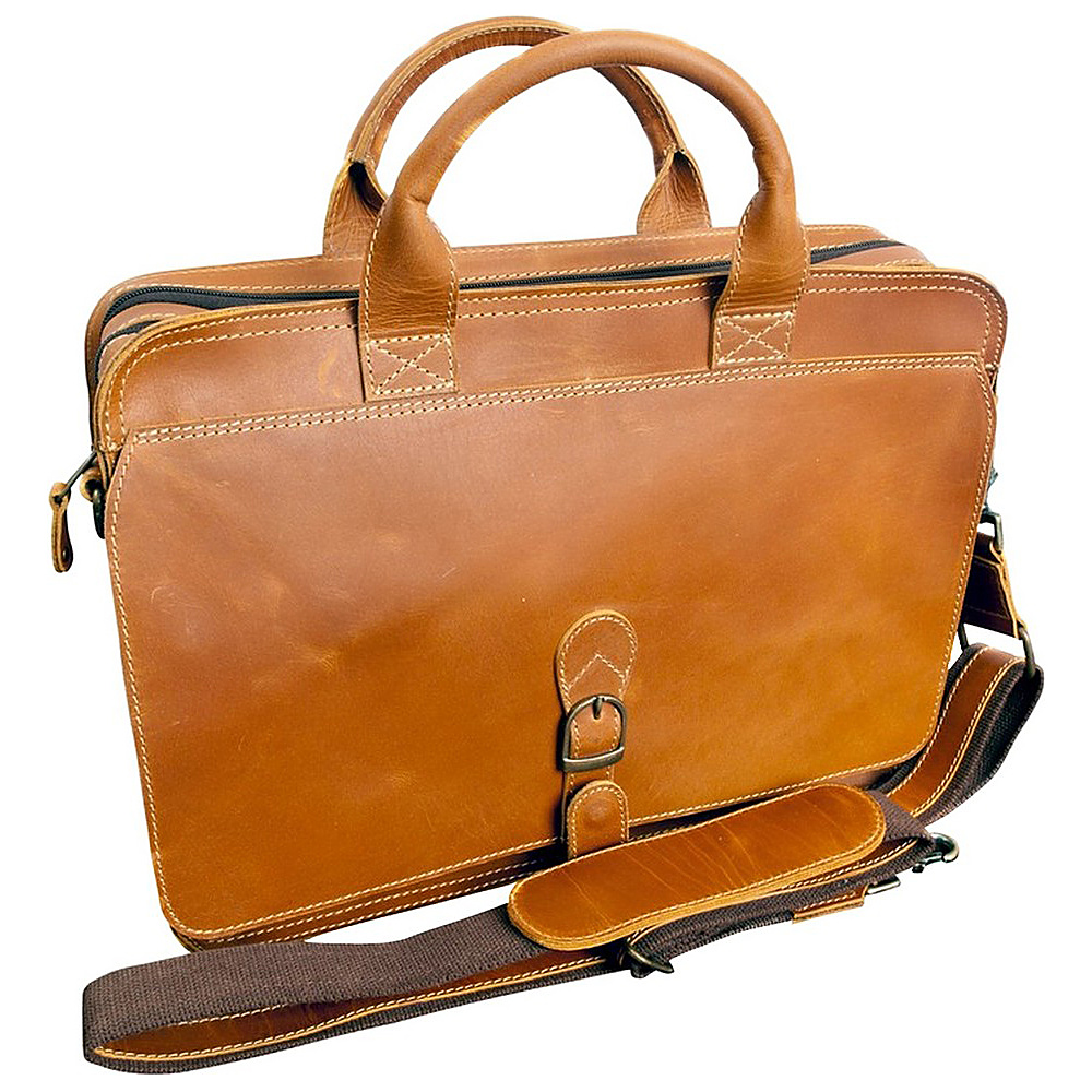 "Canyon Outback Texas Canyon 15"" Leather Computer Briefcase Distressed Tan - Canyon Outback Non-Wheeled Business Cases"