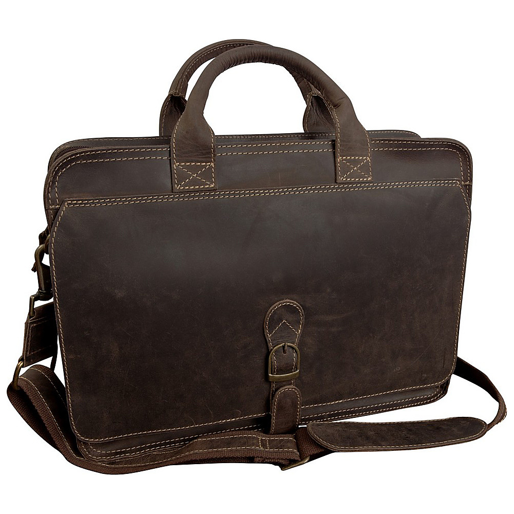 "Canyon Outback Texas Canyon 15"" Leather Computer Briefcase Distressed Brown - Canyon Outback Non-Wheeled Business Cases"