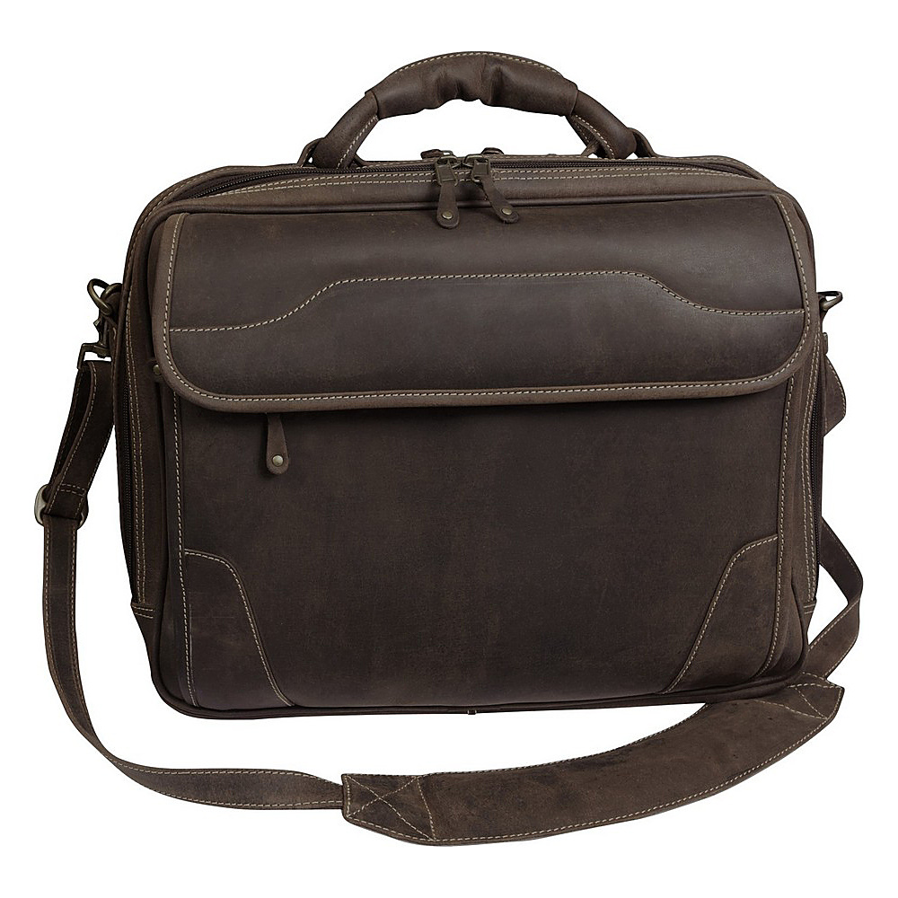 "Canyon Outback Dakota Pines 15"" Leather Computer Briefcase Distressed Brown - Canyon Outback Non-Wheeled Business Cases"